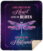 A Big Piece Of My Heart Lives In Heaven And He Is My Husband CLM02120010S Sherpa Fleece Blanket