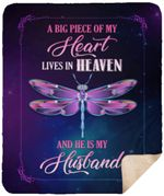 A Big Piece Of My Heart Lives In Heaven And He Is My Husband CLH1312001F Sherpa Fleece Blanket