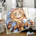 A Cat With Her Kittens HM1112001TT Sherpa Fleece Blanket
