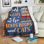 A Girl Loves Cat And Books CLM2412002S Sherpa Fleece Blanket