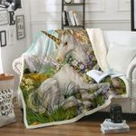 3d Unicorn Blanket Watercolor CLH0211001F Sherpa Fleece Blanket