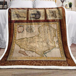 Africa Map And Animals DD101001F Sherpa Fleece Blanket
