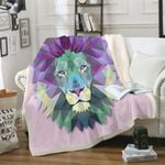 Abstract Lion CLP0512001TT Sherpa Fleece Blanket