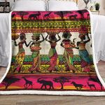 African American Artist African And Animals Art VD1610003F Sherpa Fleece Blanket #38437