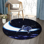 Astronaut Playing Guitar On The Moon DV0710009RR Round Carpet #34554