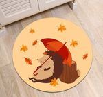Autumn Leaves Tree Stump Hedgehog CLP0710009M Round Carpet