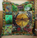 COLORFUL DRAGONFLY FABRIC QUILT