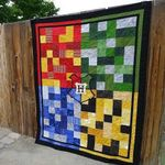 FOUR HOGWARTS HOUSES FABRIC QUILT