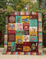 I LOVE TO BE A HIPPIE FABRIC QUILT