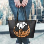 Jack Skellington Halloween Leather Tote Bag