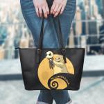 Jack Skellington Halloween Leather Tote Bag 1