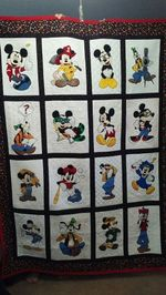 MICKEY AND GOOFY FABRIC QUILT