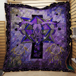 NATIVE AMERICAN DEEP PURPLE FABRIC QUILT