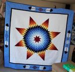 NATIVE AMERICAN STAR BLUE FABRIC QUILT
