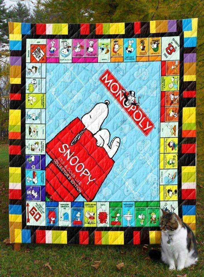 SNOOPY MONOPOLY FABRIC QUILT