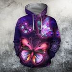 3D All Over Bumble Galaxy Butterfly Hoodie