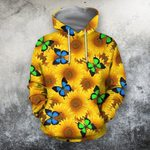 3D All Over Printing Butterfly Garden And Sunflowers Hoodie