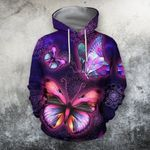 3D All Over Bumble Galaxy Butterfly Hoodie NM