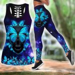 Butterfly Love Skull 3d all over printed tanktop legging outfit for women
