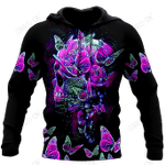 Butterfly Love Skull 3D all over printed for man and women