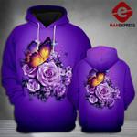 Butterfly Rose Violet 3d Hoodie Print