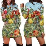 All Over Printing Butterfly Garden Hoodie Dress