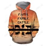 Faith Family Cattle Cow Hoodie