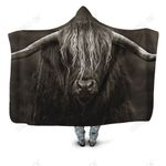 3D All Over Printed Cow Has Long Horns Hoodie Blanket