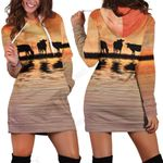 Sunset and Cow Hoodie Dress