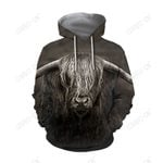 3D All Over Printed Cow Has Long Horns Hoodie