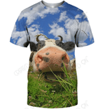 3D All Over Print Lovely Cow Face Shirt
