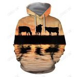 Sunset and Cow Hoodie