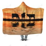 Sunset and Cow Hoodie Blanket