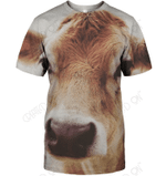 3D All Over Print Cow Face Shirt