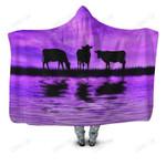 Sunset and Cow Violet Backgroud Hoodie Blanket