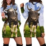 3D All Over Printed Cow And Flower Hoodie Dress
