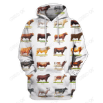 3D All Over Print Cow Hoodie White