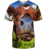 3D All Over Print Funny Cow Face Shirt