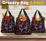 Hummingbird Reusable Grocery Bags Set