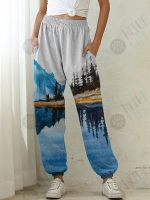 Women's Mountain Painting Printed Elastic Waist Casual Pants with Pockets