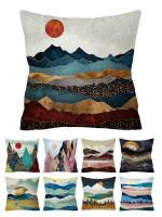 Geometric abstract lake mountain peak sunshine linen pillowcase