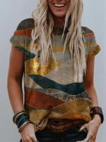 Women's mountain print round neck T-shirt top