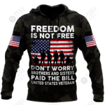 Veteran Freedom is not Free 3D all over printed shirts for men and women DD05252001