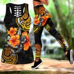 Amazing Polynesian Turtle Hibiscus Legging & Tank top