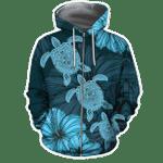 Turtle Blue Hawaii Style 3D All Over Hoodie Sweatshirt And Ziphoodie