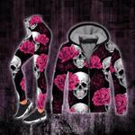 Skull Pink Rose Hooded Blanket And Fleece Zip Hoodie Legging