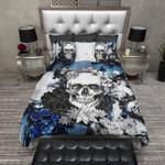 Skull Black And Blue Flower Bedding Set