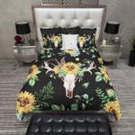 Sunflower and Deer Skull on Black Bedding Set