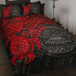 Samoa Polynesian Quilt Bed Set - Samoa Seal & Red Turtle Hibiscus