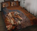 Love Horses Leather Pattern Quilt Bed Set